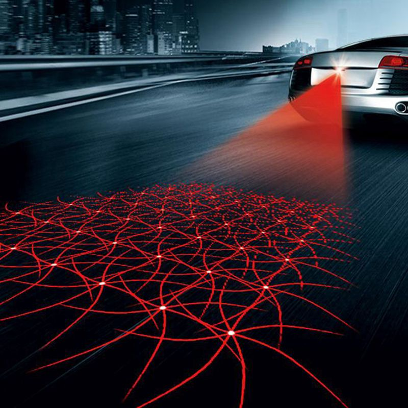Auto Kühlen Muster Anti-Kollision Ende Hinten Schwanz Nebel Fahren Laser Vorsicht Licht Anti-fog Parkplatz Stoppen Bremse lampen Warnung