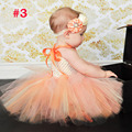 Fashion baby outfits with princess tulle headband orange dress tutu sets flower girl