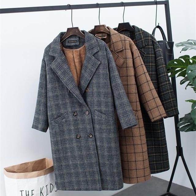 Новая зимняя одежда плюс бархатная Толстая шерстяная куртка Женская Корейская версия длинного свободного большого размера клетчатое шерстяное пальто