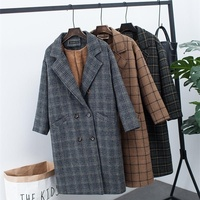 New winter clothing plus velvet thick woolen jacket female Korean version of the long loose large size Plaid woolen coat