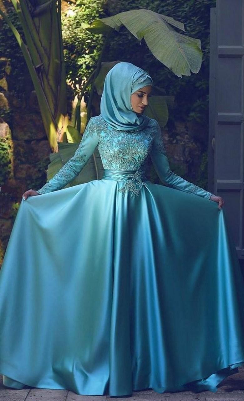 Blue High Neck Long Sleeves Muslim Evening Dress 2017 Vestido Lace Applique Dubai Arabic Long Formal