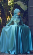 Blue High Neck Long Sleeves Muslim Evening Dress 2017 Vestido Lace Applique Dubai Arabic Long Formal Prom Dresses with Hijab