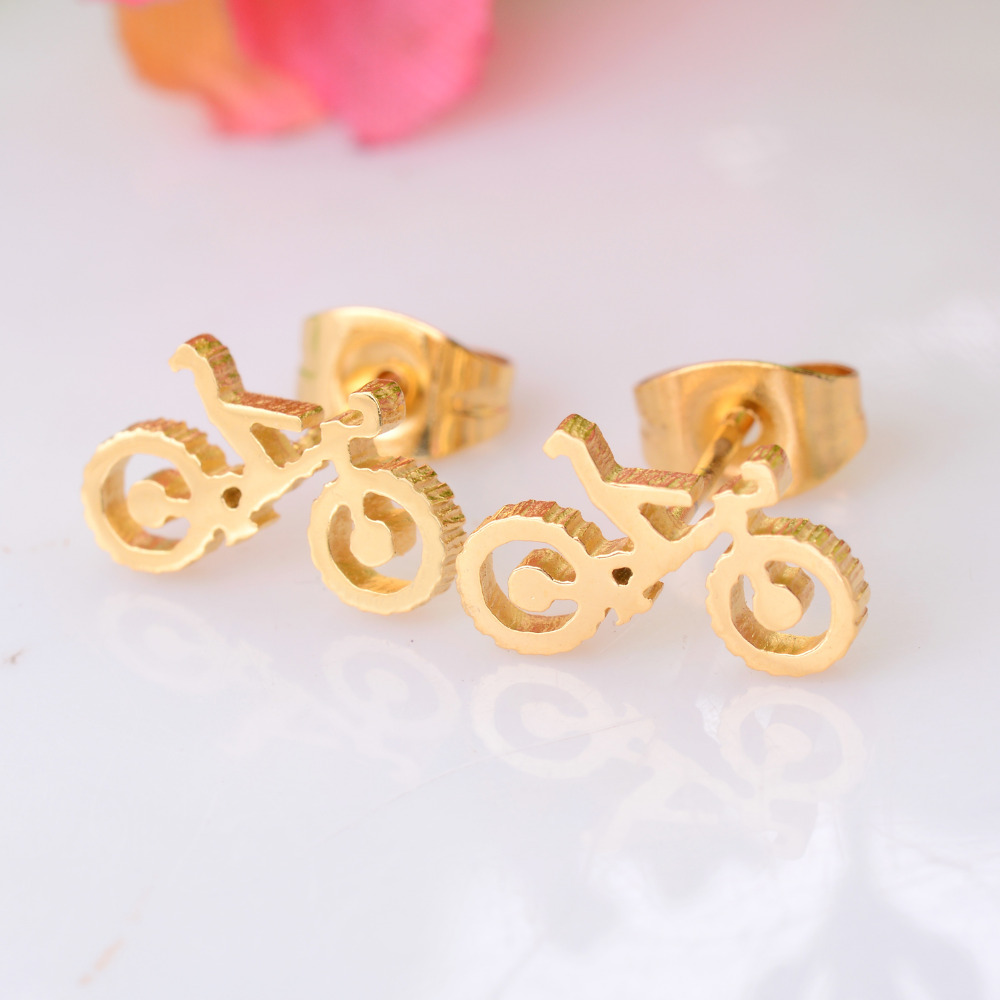 High Quality Bicycle Stainless Steel Stud Earring Gold Color Earring for Men and Women Never Fade 024