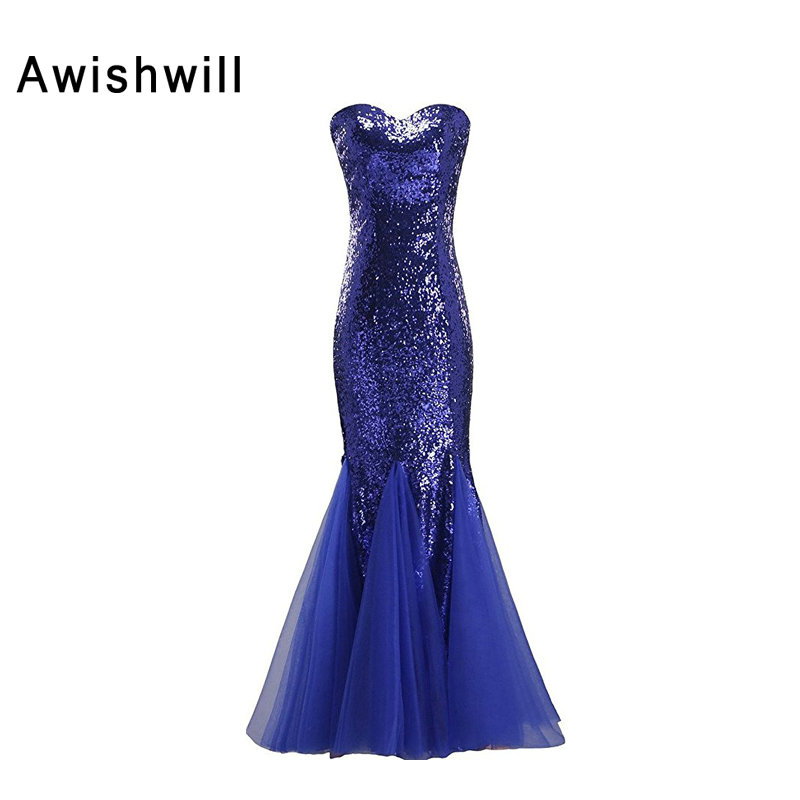 Royal Blue Prom Dresses 2017 Real Photos Mermaid Evening Dresses Floor Length Tulle Sequins Vestido De