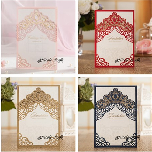 10psc Hollow Out Crown Wedding Invitations High End Wedding Invitation Card  Party Supplies For Bride