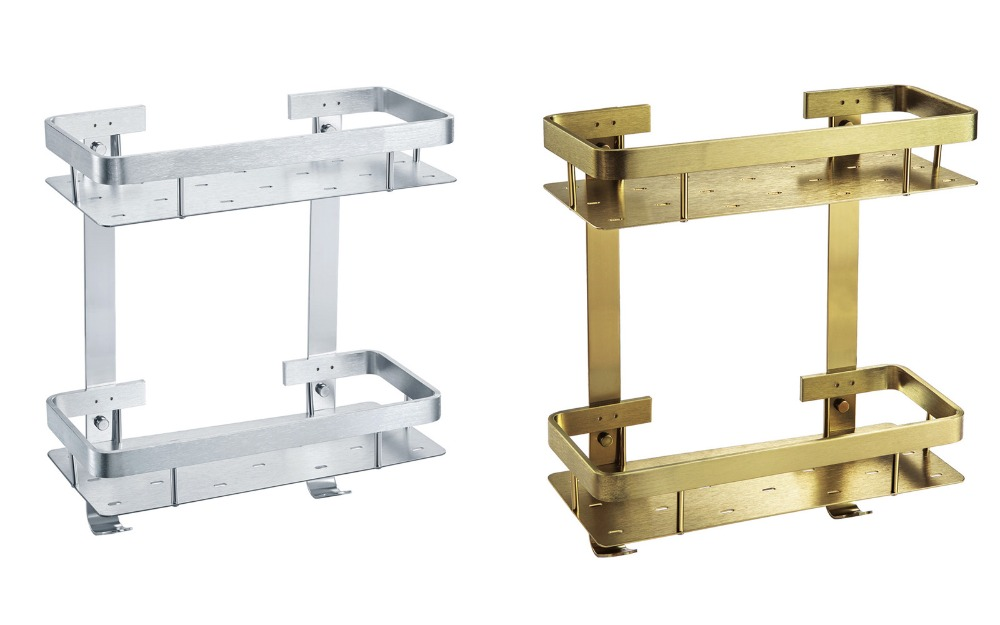 ФОТО Aluminum Sliver Or Bronze Bathroom Shelves With Wall Mounted ,Wholesale Double Bathroom Accessories Shelf