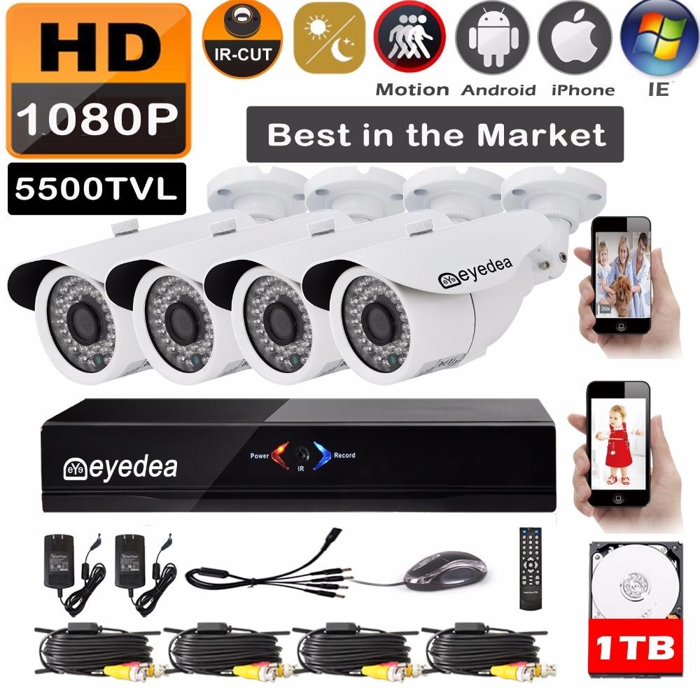 Eyedea 8 CH DVR Recorder HD 1080P 2.0MP 5500TVL CMOS IR 36 LED Night Vision Outdoor Waterproof CCTV Security 4 Camera System 1TB hk1080ir2 waterproof 1080p hd 1 3 cmos 1 0mp cctv camera w 2 ir led silver