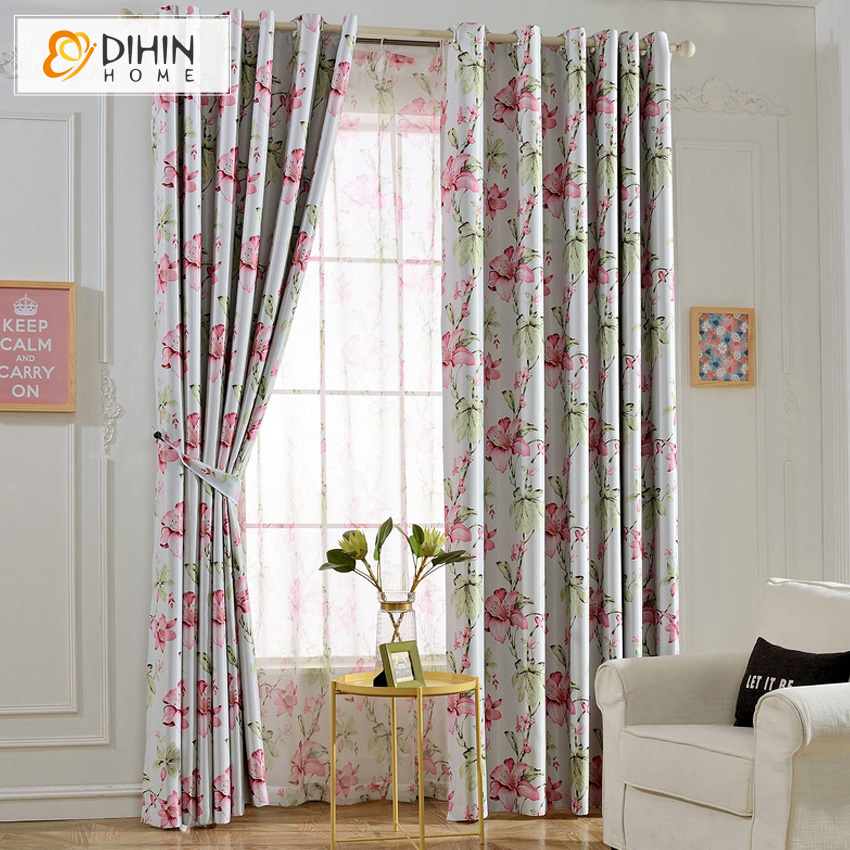 DIHIN HOME Natural Pink Flower Printed Style Blackout Curtains Window  Screening For Bedroom(China (