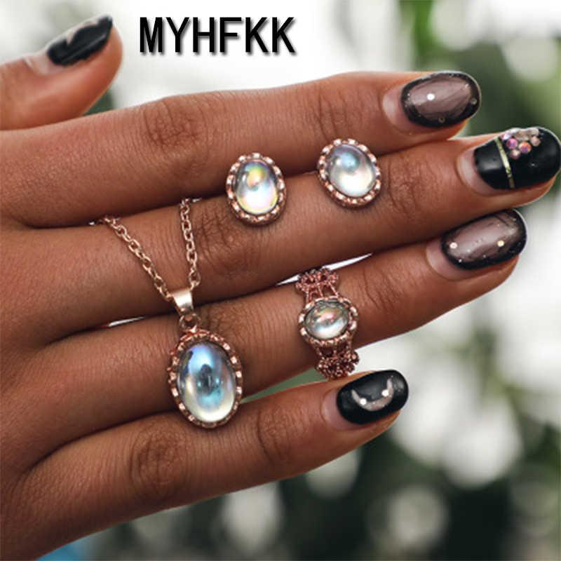 MYHFKK jewelry fashion classic personality wild imitation pearl necklace bride set wholesale jewelry set XL022