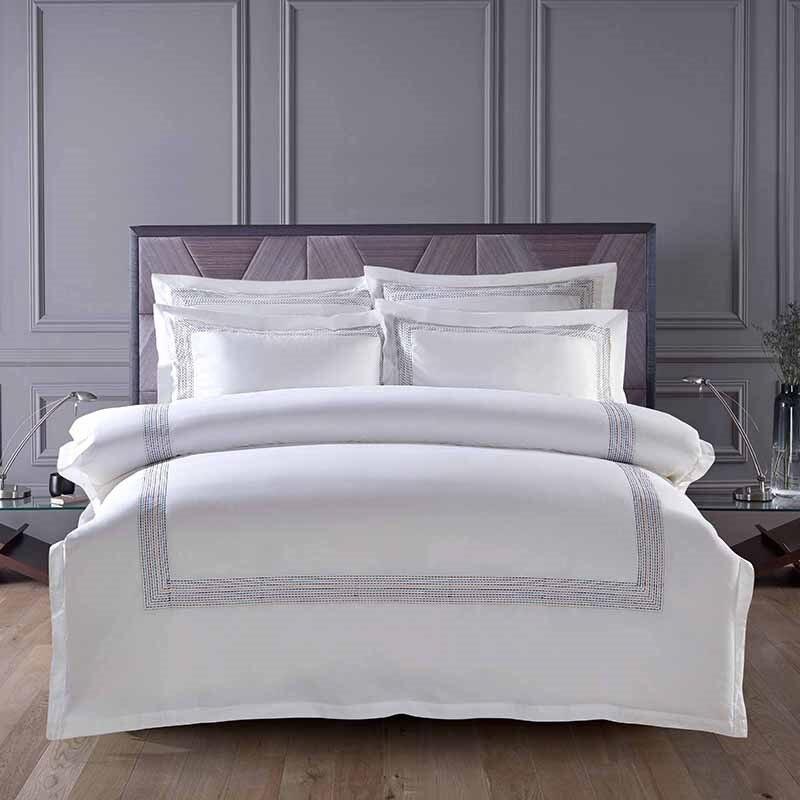 60 s Egitto Cotone Ricamo di Colore Bianco Re Queen size set di Biancheria Da Letto di Hotel di Lusso Bed set Duvet cover set Lenzuolo lino
