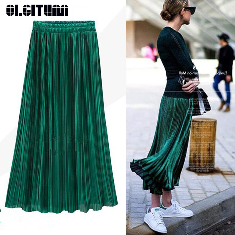 New Vintage Spring Summer Pleated Skirt Women European High Waist Skirt Solid Long Skirts Metal Bright Skirt Female 12 Colors