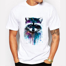 yiwuliming New 2017 Summer Style T-shirt For Male Funny Raccoon Watercolor Painting T Shirt O-neck Short Sleeve Men Tshirt
