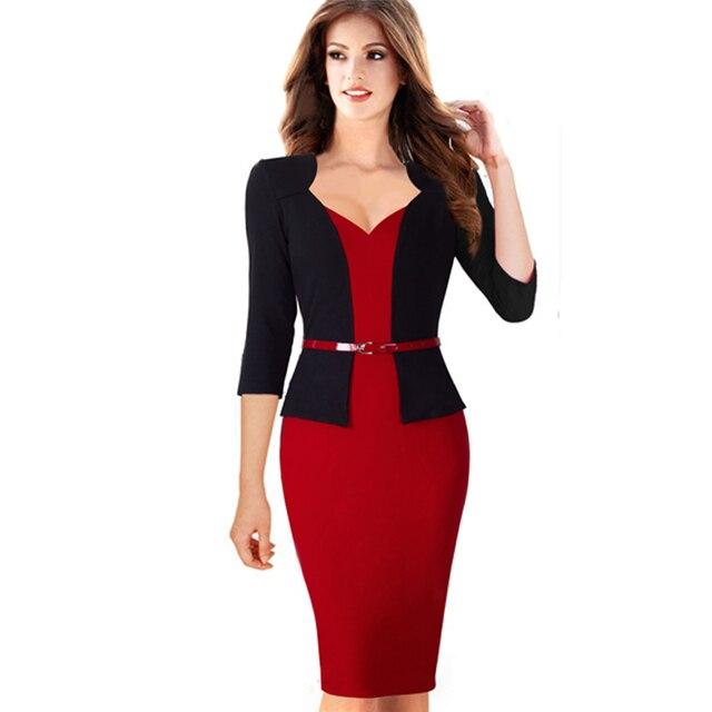 Women Autumn Elegant Formal Sheath Business Office Pencil Dress False Jacket With Belt One Piece Dresses B328