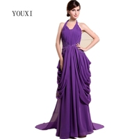 Sexy Halter Purple Long Evening Dresses 2017 YOUXI New Unique Design Formal Prom Gowns