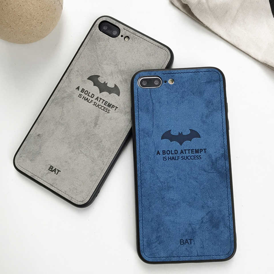 Case For iphone XS MAX XR X 6 6s 7 8 Plus Fabric Bat Pattern Cloth Art Cover Huawei Mate 10 20 Lite P20 P10 Nova 3 Honor 9 8X