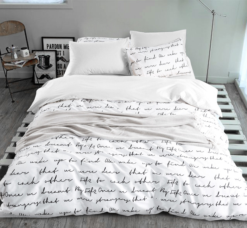 letter printing duvet cover sets activity bedding sets king russia usa size bed cover factory. Black Bedroom Furniture Sets. Home Design Ideas
