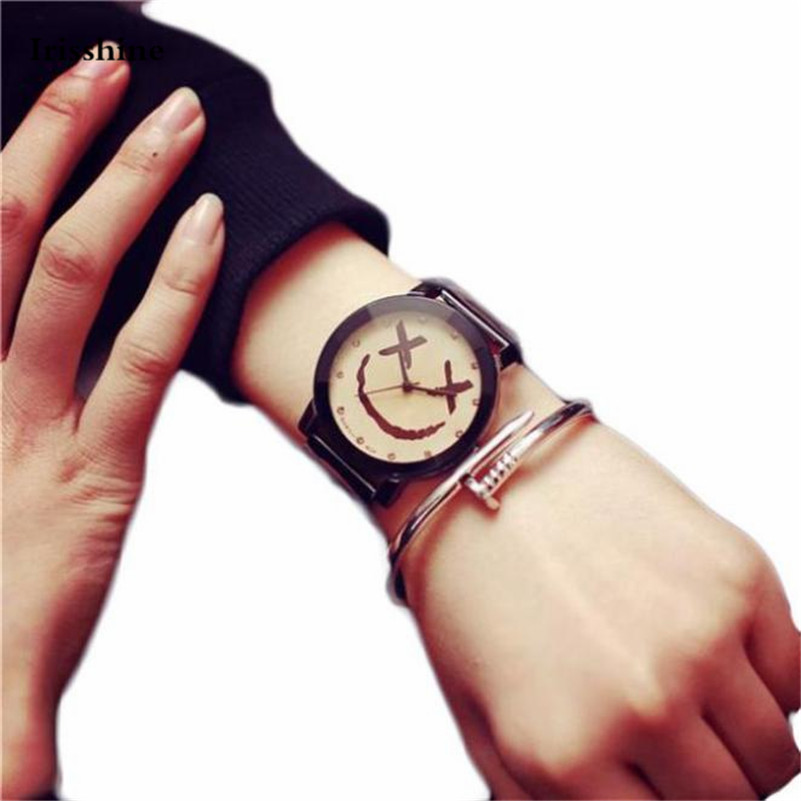 Couple Watches Men Women Lovers Unisex Fashion Smiling Face Watch Stainless Steel Quartz Analog Wrist Watch Stainless SteelA85