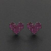100% Real 925 Sterling Silver Stud Brincos para Mulheres Jóias Completa Cubic Zirconia Pequeno Coração Pregos Orelha