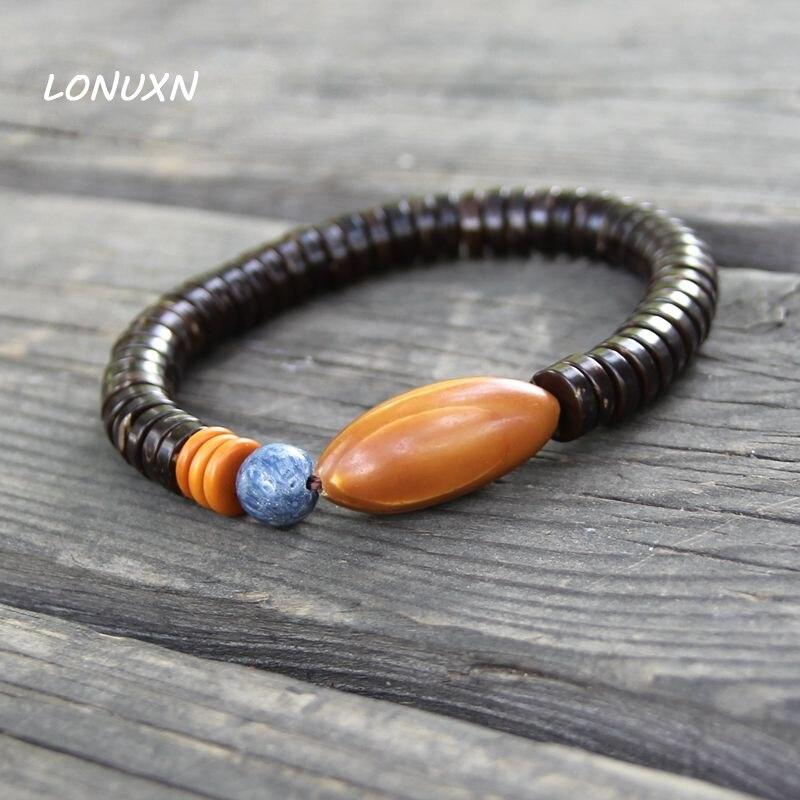 Natural olive kernel Original Natural Coconut shell Semi prescious Stone Beads Bracelet Men Women Ethnic Jewelry Design Handmade