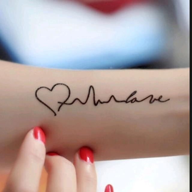 Electrocardiograma Arte De Tatuajes Temporales En Forma De Corazón