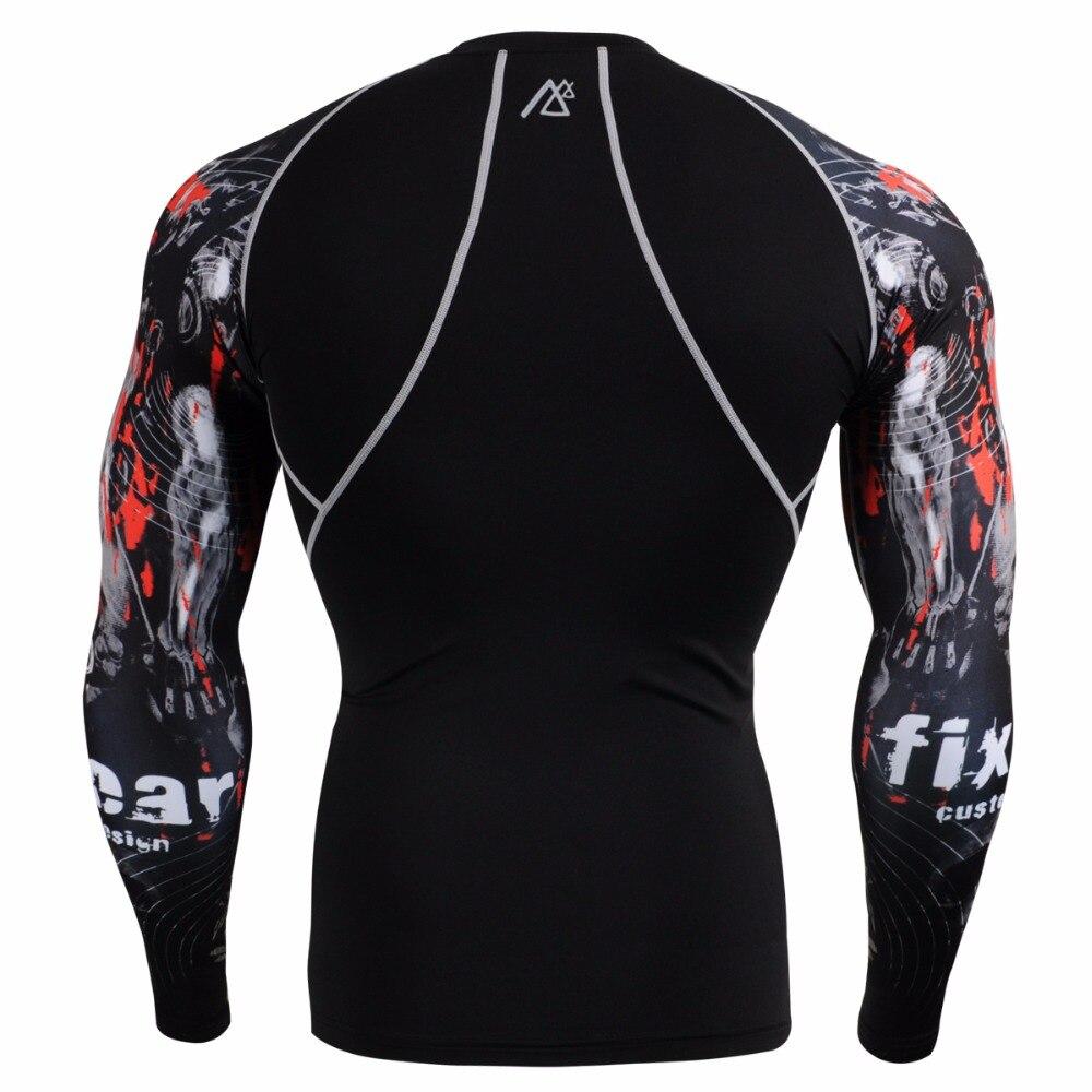 Vida na pista Camisas & Calças Justas Set Skin Tight Workout Training Gym MMA dos homens de Fitness Conjunto de Roupas de Compressão execução Terno - 4