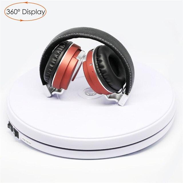 """Photo Studio 10 """"25cm 360 degrés plaque tournante électrique avec lumière Led pour la photographie, charge maximale 10kg, 220V / 110V"""