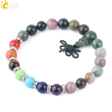 CSJA Natural Gem Stone Bracelets for Men Indian Agates Onyx Mala Beads Buddha Charms 7 Chakra Yoga Prayer Healing Bracelet F597
