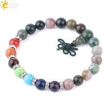 Натуральные браслеты из драгоценных камней CSJA для мужчин, индийские Агаты, оникс, Mala, бисер, талисманы Будда, 7 Чакры, браслет для молитва йоги, лечебный браслет F597