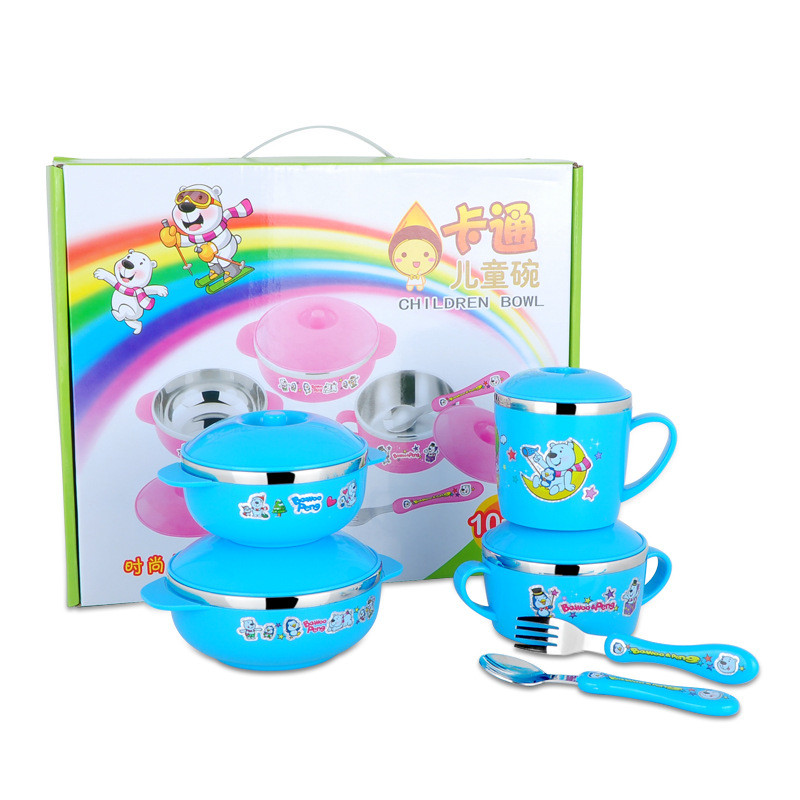 Cute Stainless Steel  Children Tableware Set Baby Bowl Food Container  Eating Set Lovely Learning Dishes  Spoon Fork Bowl Set (1)