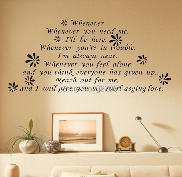0838 Free Shipping Whenever You Need Meadhesive Wall Sticker Love