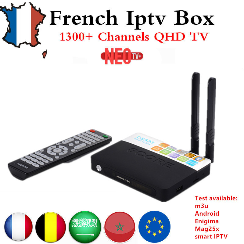 Best Arabic French Benelux NEO+ IPTV code 1200+ LiveTV with CSA93 Android 7.0 4K TV Box  Smart TV Box AmlogicS 912 4K 2GB/16GB benelux 1 500 000