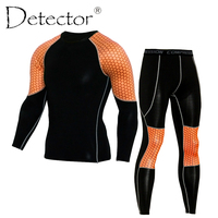 Detector Mens Compression Shirt Pants Set Workout Fitness Sportswear Bodybuilding Tight Long Sleeves Shirts Leggings Sport