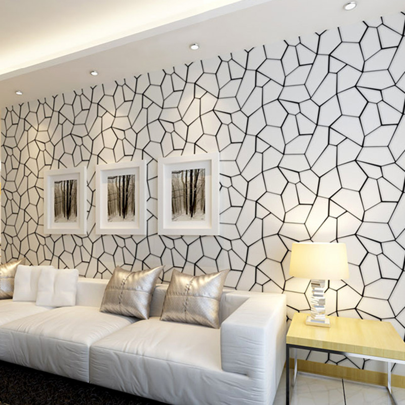 Black And White Geometric Non Woven Wallpaper Modern Living Room Bedroom Study Restaurant Video Wall