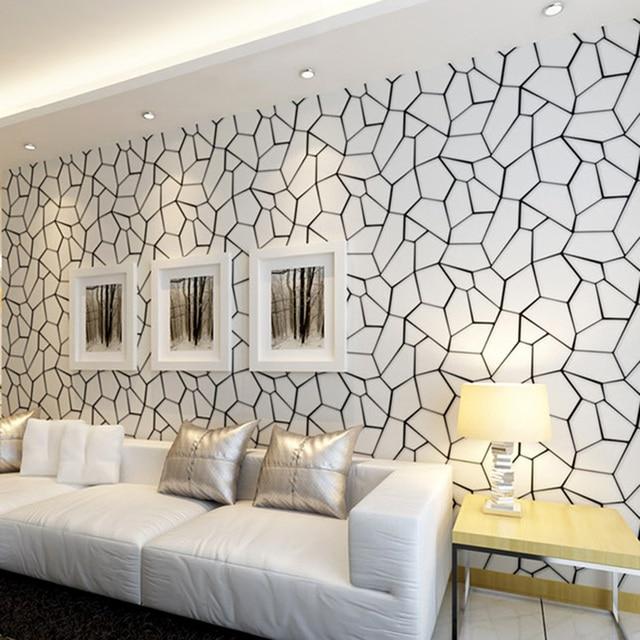 Black And White Wallpaper Ideas For Living Room Grey Walls Cream Carpet Geometric Pattern Non Woven Modern Art Design Tv Background Bedroom 3d