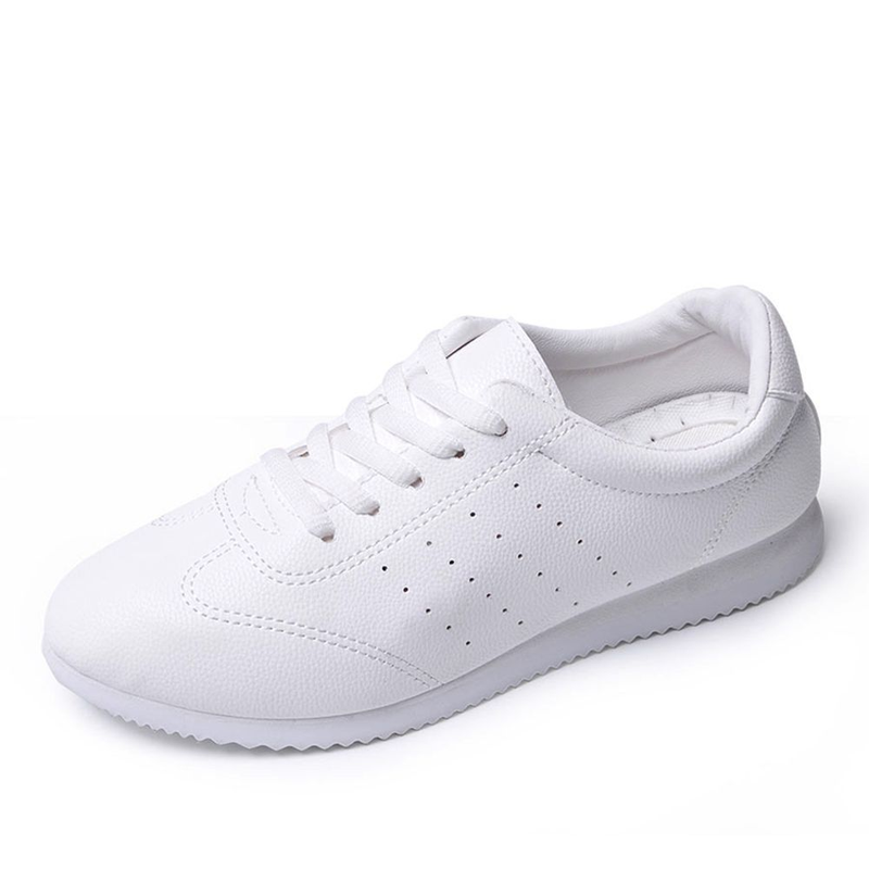 Lzzf Korean Fashion Leather Shoes Woman Breathable White Snaekers Women Shoes Ladies Large Zapatos Mujer Femme Tenis Big Size