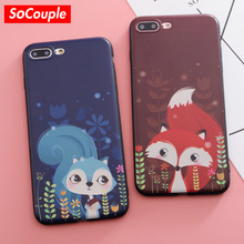 SoCouple For iPhone 6 6s 7 7 Plus 5 5s SE Phone Case Beautiful Fox Painting Soft TPU Cases Back Cover Coque For iPhone 8 8plus