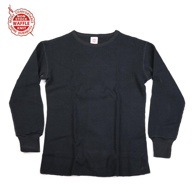 NON STOCK Waffle Pattern Knit Tee Heavyweight Mens Long Sleeve T-Shirts Slim Fit