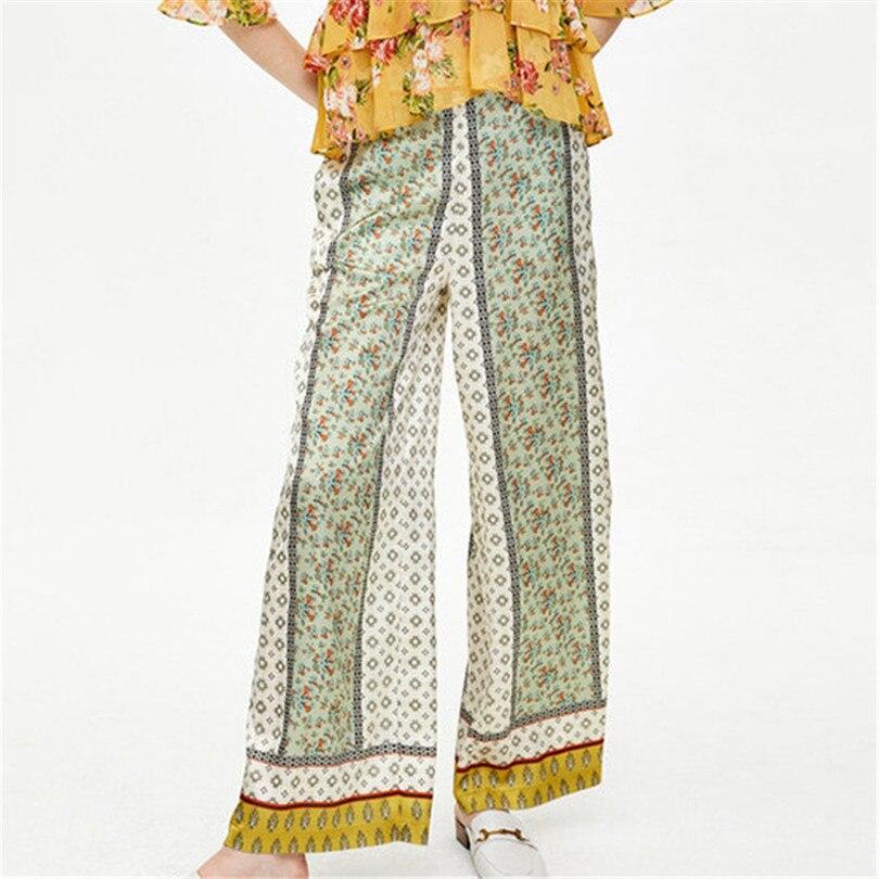 Women casual chic floral pattern   wide     leg     pants   elastic waist pockets chiffon trousers retro chic pantalones