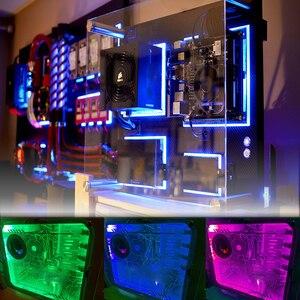 Image 5 - SATA واجهة RGB LED قطاع الخفيفة 60 المصابيح/م ديود الشريط مجموعة كاملة مع RF تحكم لاسلكي للكمبيوتر وحدة معالجة خارجية 0.5 متر 1 متر 1.5 متر 2 متر