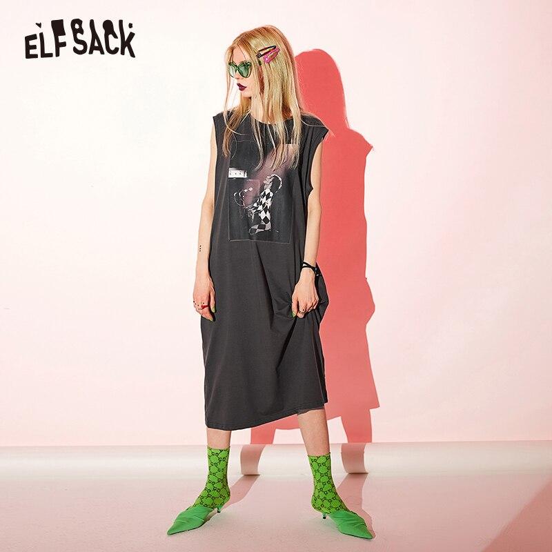 ELFSACK Vintage imprimer noir coton femmes robes décontracté col rond sans manches Hoiiday robe 2019 été a-ligne mi-mollet Femme robe