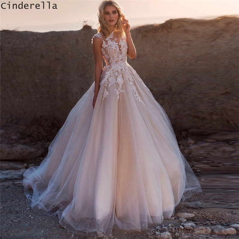 Cinderella Pink Scoop Sleeveless A-Line Soft Tulle Lace Applique Wedding Dresses Pink Lace Covered Button Back Bridal Dresses