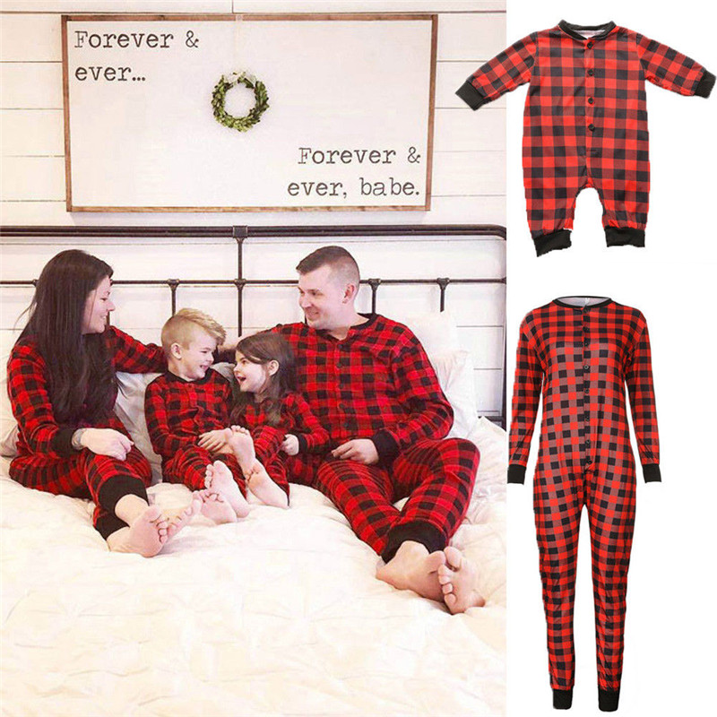 CANIS Family Christmas Baby Plaid Romper Matching Pajamas Set Adult Women Men Kids Baby Boy Girl Sleepwear Nightwear Clothes