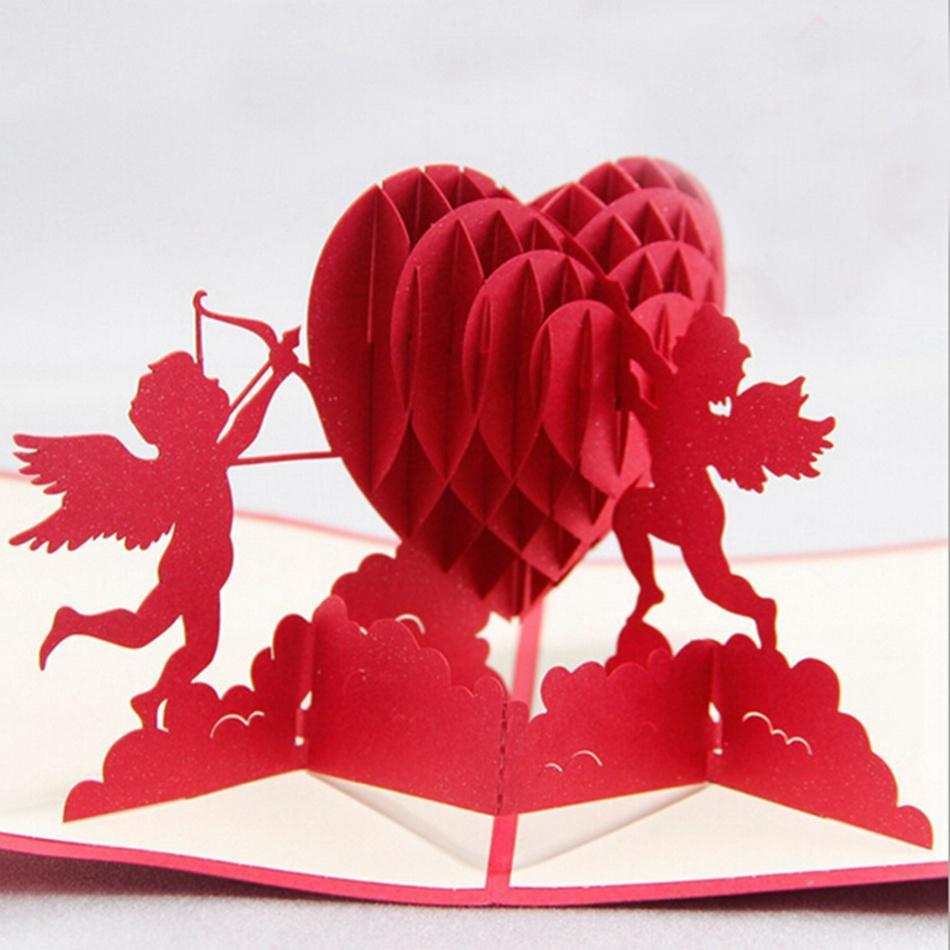 Valentine Greeting Cards Handmade Love Theme Kirigami 3d Pop Up Card