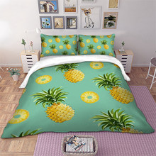 Pineapple Bedding set 3D Fruit Duvet Cover Pillowcases Twin Full Queen King Size bed linen 3pcs new(China)