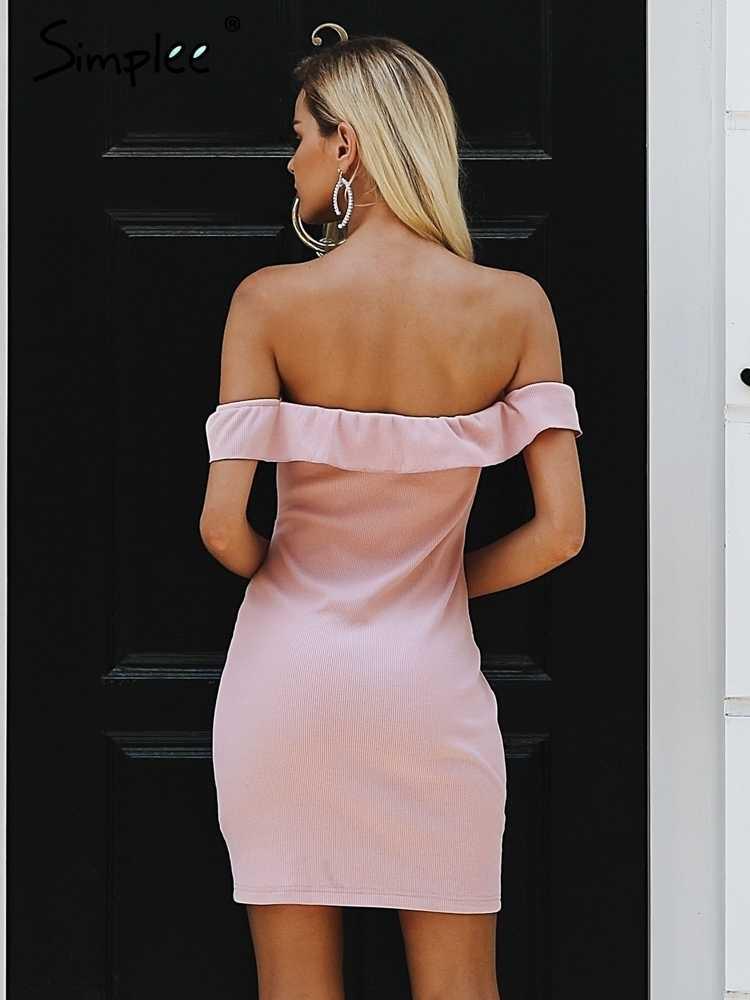 Женское осенне-зимнее короткое платье Simplee, короткое облегающее платье с открытыми плечами и спиной, с кулиской, оборками, розовое мини-платье без рукава