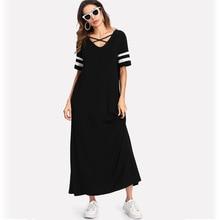 European and American V-neck Pocket Stitching Short-sleeved Loose Large Size Dress