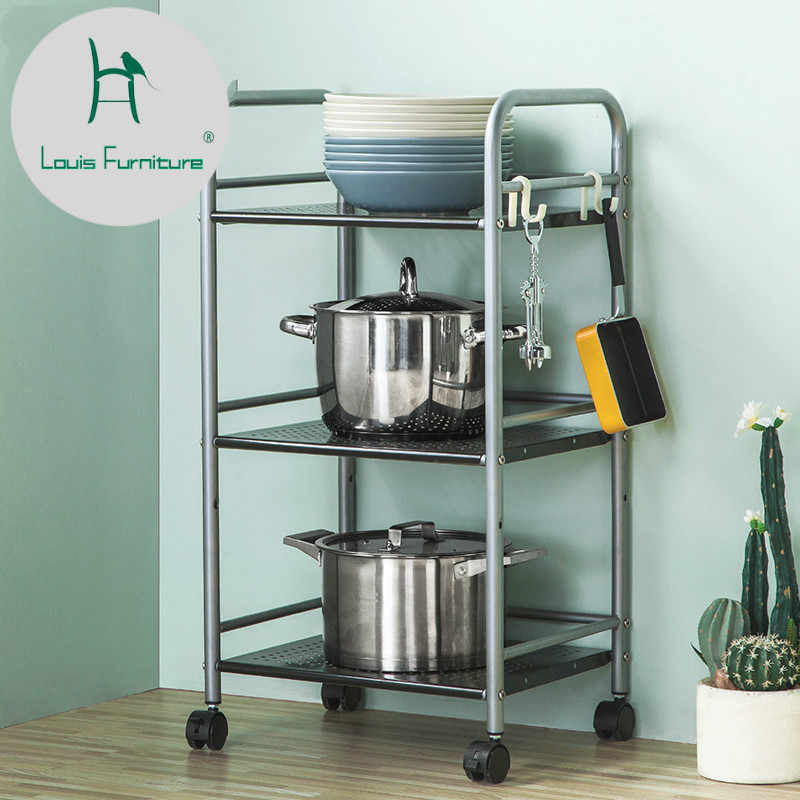 Louis Fashion Cart Kitchen Rack Microwave Oven Three Levels of Storage