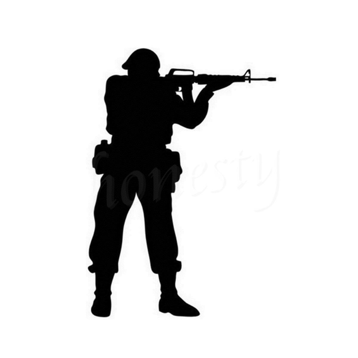 Shooting army wall home glass window door car sticker laptop truck motorcycle vinyl black decal sticker decor gift 11 5cmx16 3cm in car stickers from
