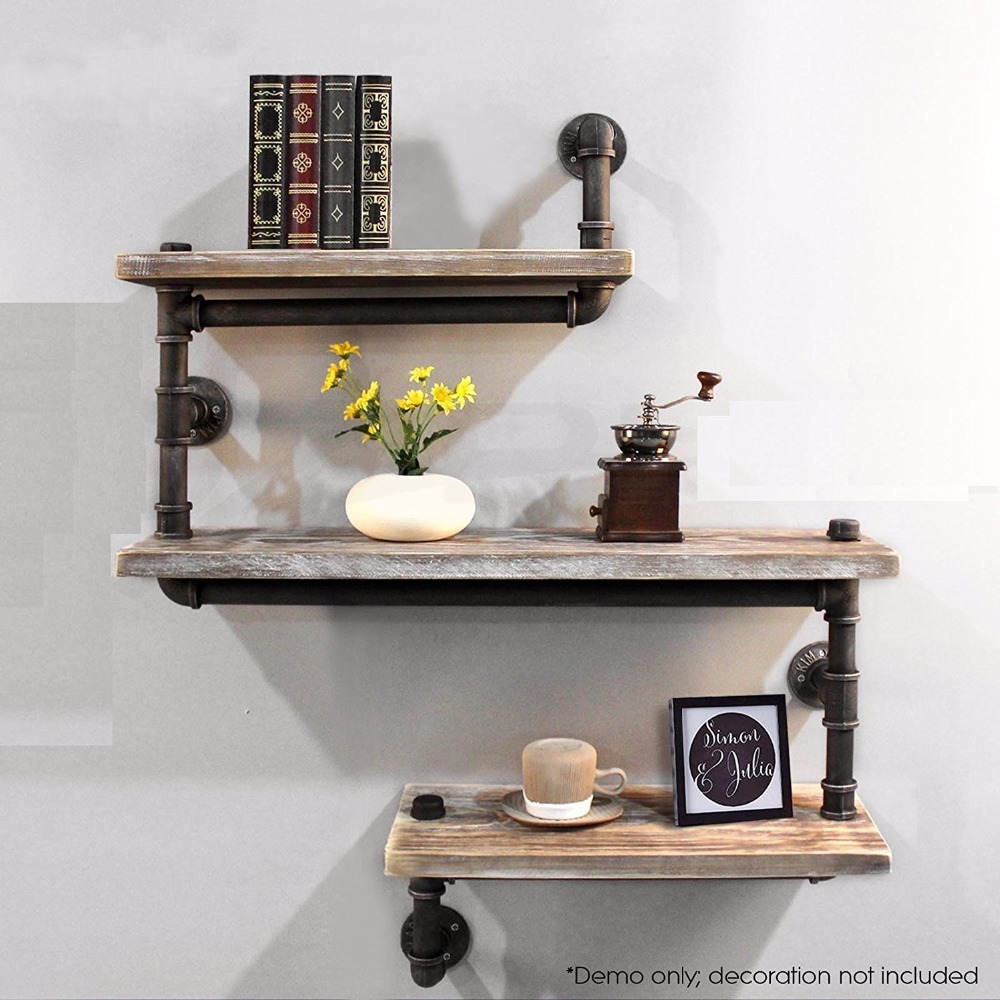 Wall Mounted Industrial Rustic Iron Pipe Wall Shelf 3 Tiers Wooden Board Shelving Home Restaurant kitchen Bar Shop Decor 2sets wooden iron wall shelf wall mounted storage rack organization for bedroom kitchen home decor kid room diy wall decoration holder