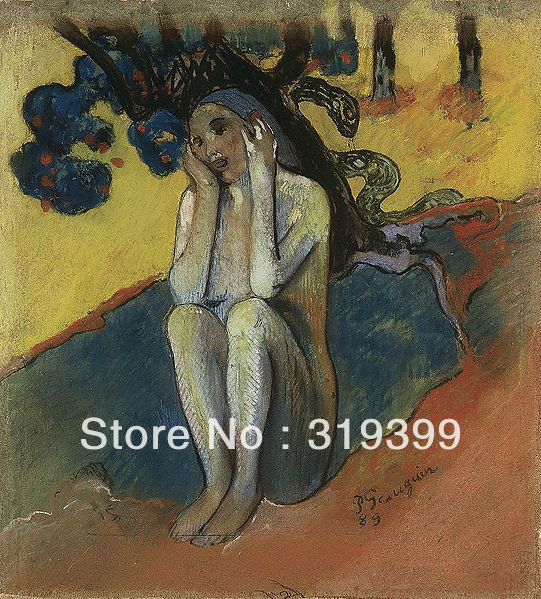 Oil Painting Reproduction on Linen canvas,Breton Eve (I),100%handmade,Paul gauguin's oil painting reproduction,Museum Quality image